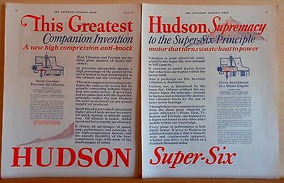 1927 two page magazine ad for Hudson - Supremacy in Super 6 Principle, new motor