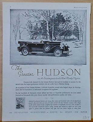 Vintage 1929 magazine ad for Hudson - Greater Hudson, etching by Chas. A. Barker
