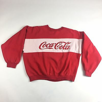 VTG Coca Cola Coke Womens Large Red Spell-out Sweatshirt 80s Crop Style 0113