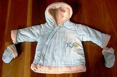 Kenzo French Designer Baby Girls Hooded Jacket With Mittens Sz  6 Months