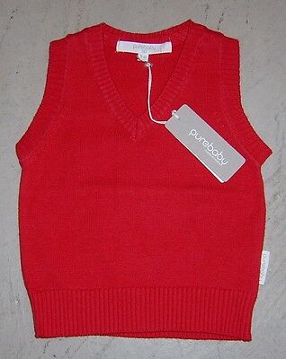 Baby Boys Red Vest By Purebaby Sz 00 (3 -6 Months) New With Tags