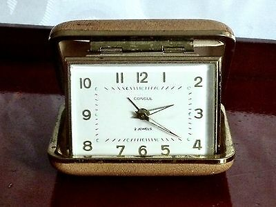 Collectable Mid Century Travel Wind Up  Alarm Clock Germany C 1950'S