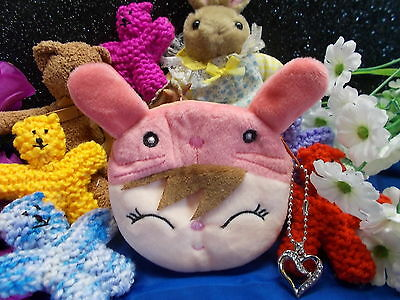 *** Cute Pink Soft Plush Coin Purse With Zipper -  Love Heart Charm New # 20