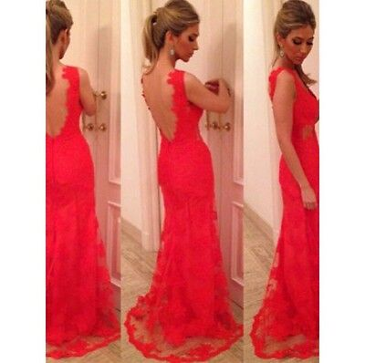 Red Long Lace Floor Length Prom Formal Gown Dress Size 6/8