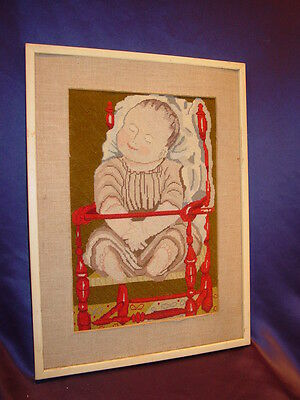 Vintage Folk Art Needlepoint Portrait 19thC Style Baby in High Chair  Maine