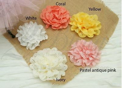 3 Ruffle Eyelet Fabric Flower LARGE, Shimmery Chiffon DIY Embellishment craft