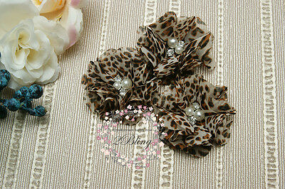 3 LEOPARD Chiffon Fabric Flower, SMALL, DIY Baby Headband Kit Craft Sew