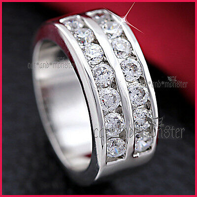9K White Gold Gf Mens Women Solid Classic 8Mm Wedding Eternity Crystal Band Ring
