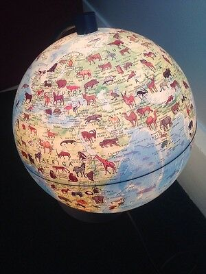 40cm Light Up Rotating World Globe With Origins Of Animals