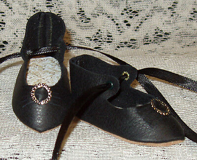"French Style Leather Doll Shoes for 2 5/8"" foot x 1 1/4"" ~ BLACK"