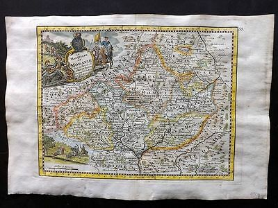 Le Rouge 1748 HCol Map. Le Marquisat de Moravie. Moravia. Czech Republic