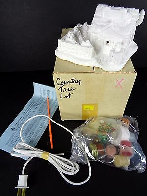 Vtg Wee Crafts Country Tree Lot Paint Kit 21595 Christmas Village Lights Up