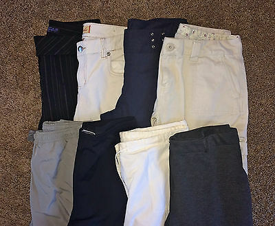 LOT G 8 Pairs Women's Junior's Designer Casual Career Dress Pants 7 8 S MEDIUM M