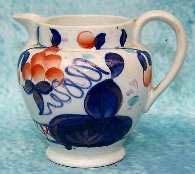Antique Victorian Gaudy Ware Welsh Pottery Jug Oyster Pattern