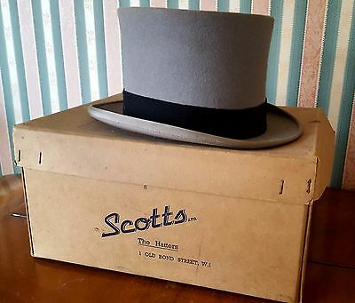Vintage 1950s Grey Felt Topper Top Hat by Scott & Co. With Orignal Box Ascot