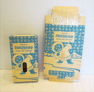 FROSTOFOLD VINTAGE FROZEN FOOD CONTAINER BOXES PAIR ESKIMO GRAPHICS 50's or 60's