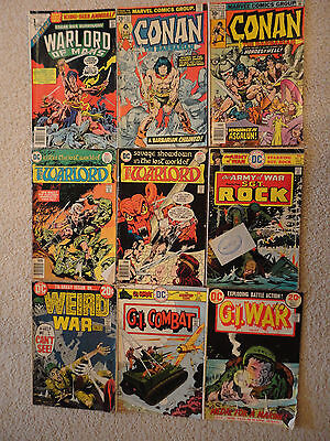 lot of 9 war, Conan, & Warlord 1970s comics - old/used shape - see description