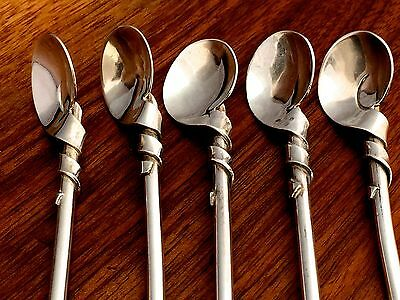 Taxco 20thC Five Mexican Sterling Silver Sipper Straw Spoons No Monograms