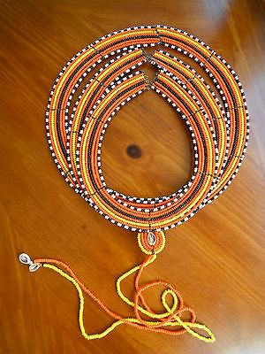 Maasai Masai 3 RING Tribal Traditional Wedding Beaded Necklace African AUTHENTIC