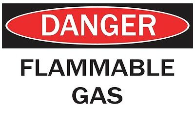 DANGER -FLAMMABLE GAS / Vinyl Decal / Sticker / Safety Label  PIckA Size
