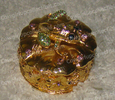 BeJeweled FROG Baked Enamel Gold Trinket Box (Wildlife Collection, 4130)