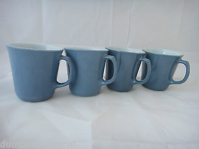 4 Steel Blue D handle Pyrex Corning Corelle Coffee mugs mug cups vintage 60s 70s
