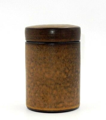 "Dutch Signed Zaalberg Holland Brown Sponged 6"" Art Pottery Jar / Box"