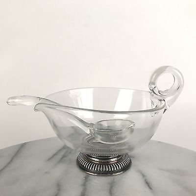 Vintage Frank Whiting Glass Gravy Sauce Boat w/ Sterling Silver Foot Glass Spoon