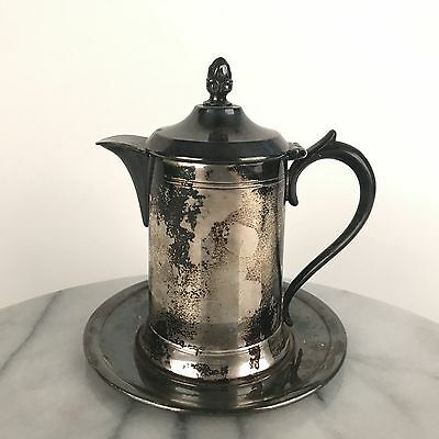 Vintage Columbian Silver Co Sheffield Quadruple Plate Creamer with Under Plate