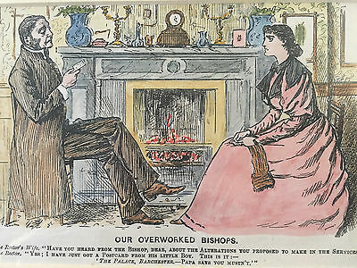 Original Antique Punch Cartoon Our Overworked Bishops Hand Coloured 1896 Comical