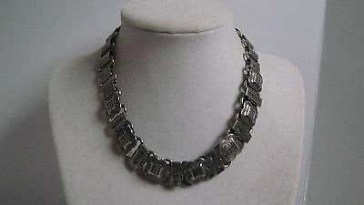 Victorian Revival Vintage Silver Plated Decorated Book Chain Dog Collar Necklace