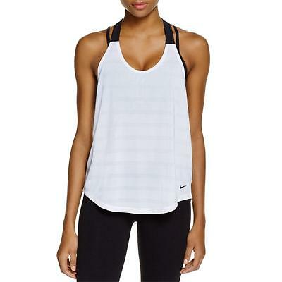 Nike 4488 Womens White Dri-Fit Mesh Racerback Stay Cool Tank Top L BHFO