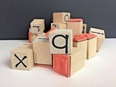 Wooden Stamp Collection Alphabet Lot Small Set Of Twenty Six Complete Letters