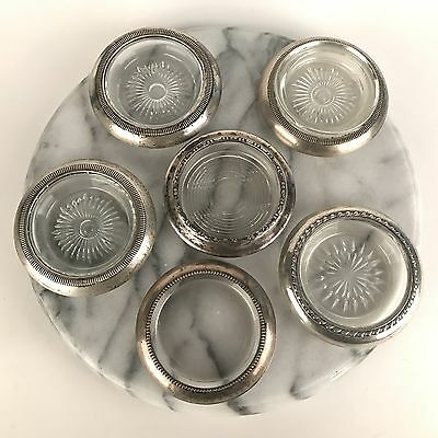 Lot 6 Assorted Vintage Sterling Silver and Glass Coasters