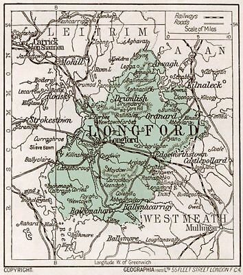 1923 map of Ireland: County Longford antique ready-mounted print SUPERB