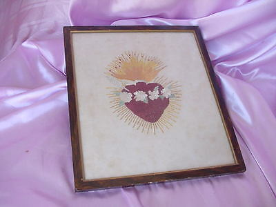 Antique Embroidery Linen Religious Holy Sacred Heart Of Jesus Framed Vintage Nr
