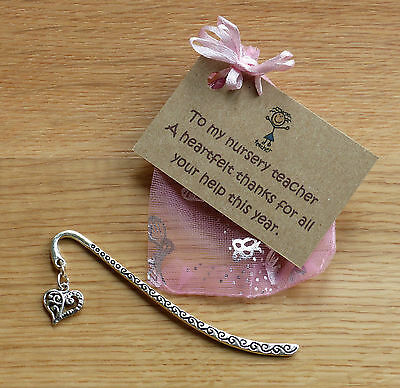 Nursery teacher gift. Also teacher, Teaching assistant. End of term bookmark.