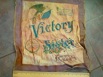"Vintage Original WWI Silk Pillowcase ""Victory Sister"" 18""x20"""