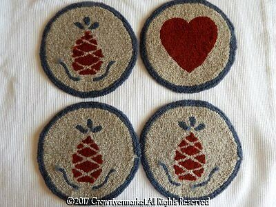 Primitive Hand Hooked Yarn  Punched Round Chair Pads Pineapples Heart Set  4 12""