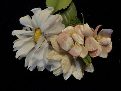 "Vtg Millinery Flower Collection 3-5"" Peachy Pink Velvet Ivory White Shabby H1410"