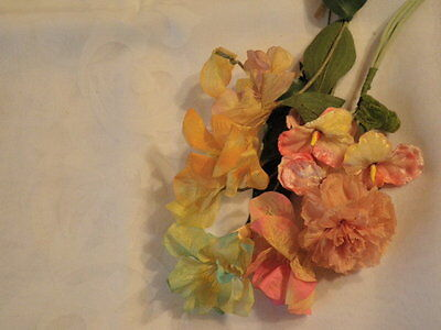 """Vintage Millinery Flower Collection 2 -3"""" Peachy Pink Velvet Yellow Pastel H1411"""