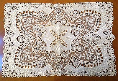 Antique Lace Doily Embroidered Whitework Table Dresser Mat Lacy Chemical Doilie