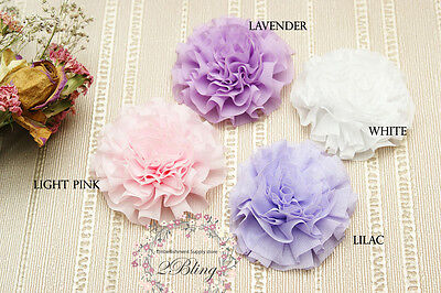 3 CABBAGE chiffon fabric flower 7cm* DIY baby headband Embelllishment Craft