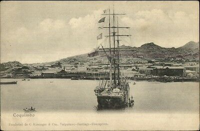 Tall Ship - Coquimbo - Chile c1905 Postcard