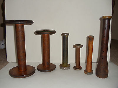 Lot of 6 Vintage Antique Wooden Textile Sewing Spools - Nice condition