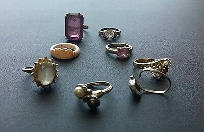 Lot of 8 Vintage Rings, untested, not sized