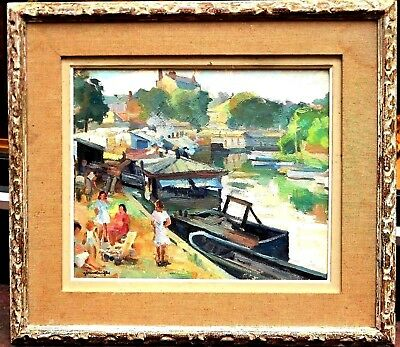"""Gérard LANGLET(1906-1990)French Charm Abounds """"Farniente"""" Oil Signed 27x23 Orig"""