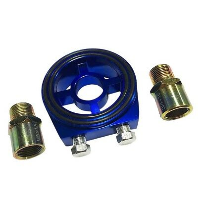 "Universal M20x1.5 3/4""-16 AN8 Oil Filter Cooler Sandwich Plate Adapter Blue"