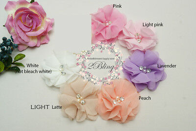 6 MIX LARGE, CHIFFON PETAL, Acrylic bead fabric flower, DIY Embellishment sewing