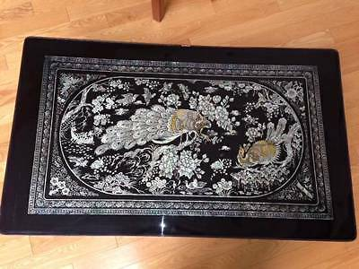 Vintage Black Lacquer Mother of Pearl Peacock Inlay Folding Korean Tea Table